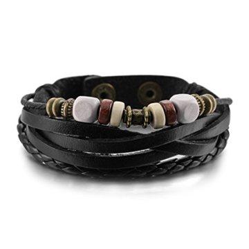 Herren Armreifen – SODIAL(R) Metalllegierung Legierung Leder Holz Armband Armreifen Seil Silber Schwarz Einstellbar Herren