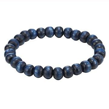 Herren Damen Blau Holz Armband, 9mm Tibetan Beads Buddhist Prayer Mala, Dehnbare