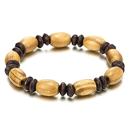 Herren Damen Braun Holz-Armband, 9MM Tibetan Beads Buddhist Prayer Mala, Dehnbare