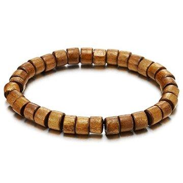 Herren Damen Braun Holz Perlen Armband, 7mm Tibetan Beads Buddhist Prayer Mala