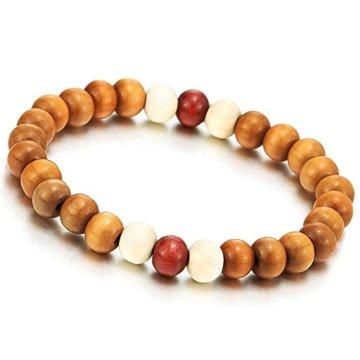 Herren Damen Braun Rot Weiß Holz-Armband, 8mm Tibetan Beads Buddhist Prayer Mala, Dehnbare