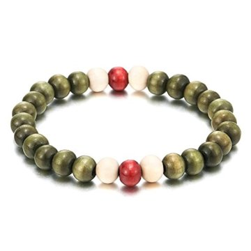 Herren Damen Grün Rot Weiß Holz-Armband, 8mm Tibetan Beads Buddhist Prayer Mala, Dehnbare