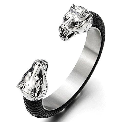 Herren Edelstahl Wolfskopf Offenes Manschette Armband, Armreif Intarsien mit Schwarze Leder, Elastische Verstellbare