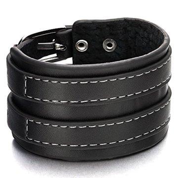 Herren Großes Breites Schwarz Genähtes Leder armband Echtes Leder Armreif mit Zwei Reihen Schnallen