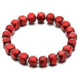 Herren Jungen Damen Rot Holz Perlen Armband Bettelarmband mit Metall Charme, Tibetan Beads Buddhist Prayer Mala