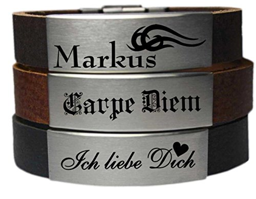 Herren Lederarmband XXL Gravurplatte mit Laser Gravur Büffel Leder Armband (20 Zentimeter)