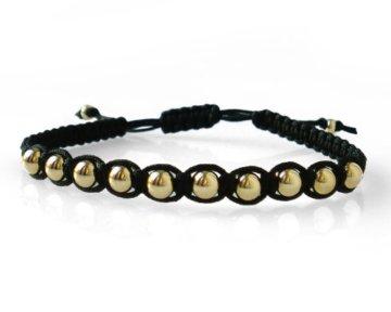 Herren Makramee Armband mit 375 Gelb Gold Perlen 5mm Shamballa
