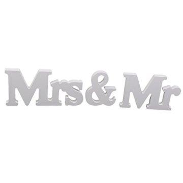 Holz Aufsteller Mr & Mrs Brautpaar,Hochzeit,Saaldeko,Tischdeko Geschenk weiß
