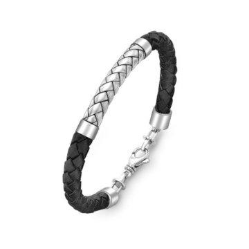 Hoxtons London Herren Sterling Silber Fischgät Schwarzes Leder Armband 22cm