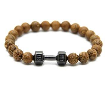 JOCALIO Sport-Armband Herren-Schmuck Wood-Beads Holz-Perlen Fitness-Fashion Damen-Band Vintage