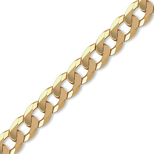 Jewelco London 9K Gold schweres Gewicht Bordsteinkante Link 14mm Halskette