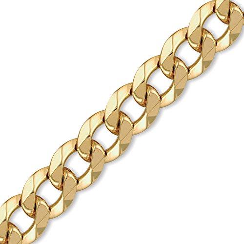 Jewelco London 9K Gold schweres Gewicht Bordsteinkante Link 17.5mm Halskette