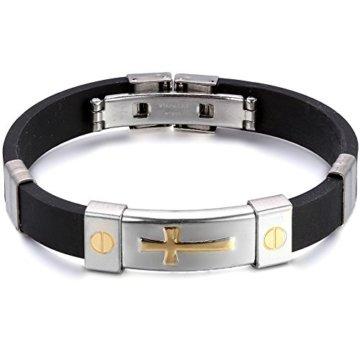 JewelryWe Schmuck Edelstahl Armband mit schwarzem Gummi, Gold/Silber Kreuz Design, Partnerarmband Damen Herren Armbänder Armreif