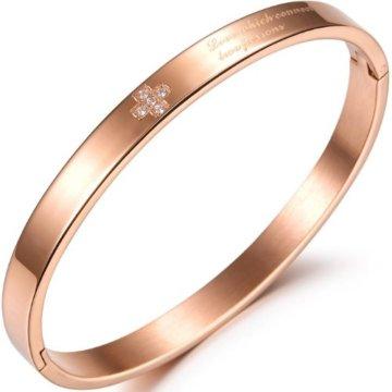 JewelryWe Schmuck Gold/Silber Edelstahl Armband Kreuz Partnerarmband Gesundheit Armbänder Armreif, 16,5cm Breite 6mm