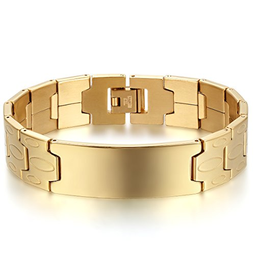 JewelryWe Schmuck Herren Armband, Charm 16MM große Breite Glänzend Poliert Link Armreif Armkette, Edelstahl, Gold Silber