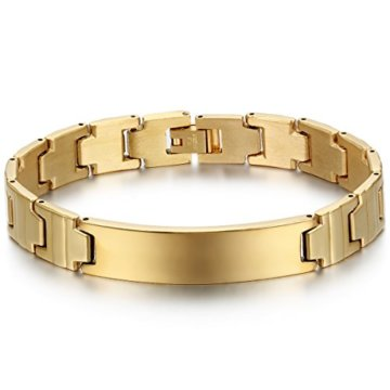 JewelryWe Schmuck Herren Armband, Klassiker Glänzend Poliert Link Armreif, Edelstahl, Silber Gold