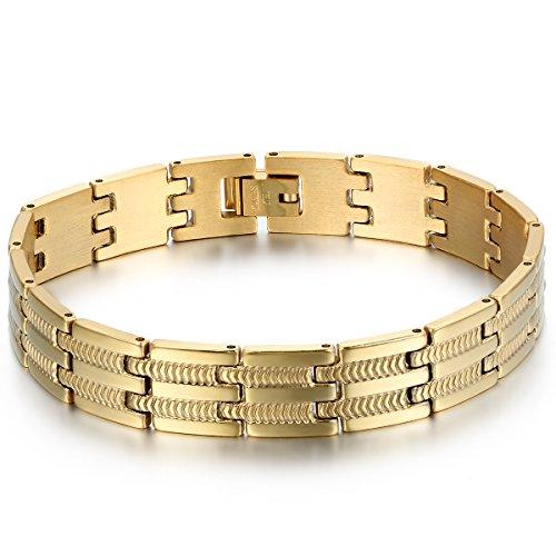 JewelryWe Schmuck Herren Armband, Schlange Knochen Muster Breit Charm Biker Armreif, Edelstahl, Gold