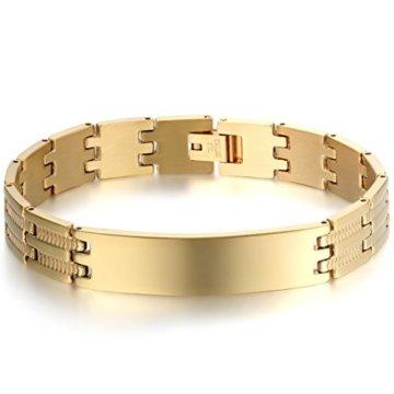 JewelryWe Schmuck Herren Armband, Schlange Knochen Muster Glänzend Poliert Armreif, Edelstahl, Silber Gold
