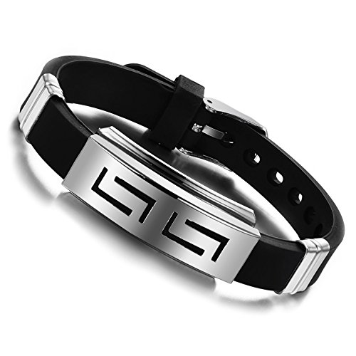 Jewow Schmuck Edelstahl Herren Silikon Armband Einstellbar (16-21cm)