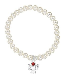 Jo for Girls Armband aus Süßwasserperlen, Engel-Anhänger aus Sterling-Silber 925 mit Geburtsstein Januar