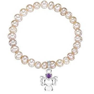 Jo for Girls CBSEPwp Armband, mit Süßwasserperle, Engel-Anhänger aus Sterling-Silber 925, Geburtsstein Februar