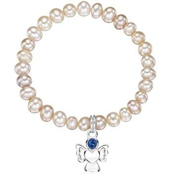 Jo for Girls CBSEPwp Damen-Armband, mit Süßwasserperle, Engel aus Sterling-Silber 925, mit Geburtsstein September