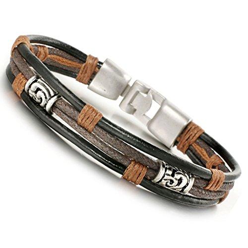 Jstyle Leder Armband Herrenarmreif Armreif Armkette Legierung für Damen Herren 21.5cm