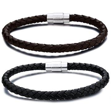 Jstyle Schmuck 2 Stück Leder Armreif Armband Armbänder Armkette Braun Schwarz für Männer 20,5cm