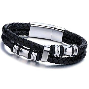 Jstyle Schmuck Edelstahl Armbänder Leder Schwarze Armband für Männer 20/22 CM Länge