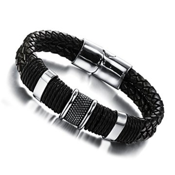 Jstyle Schmuck Flechten Armbänder Lederarmband Herren Damenarmband für Herrenarmband Schwarz Männer Lederarmband mit Verschluss aus Edelstahl 20cm