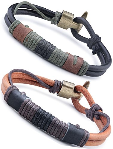 Jstyle Schmuck Leder Armband Armreif Herren Armband Set Armbänder Arm Band für Frauen Liebe 21,5cm* 10mm