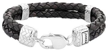 KUZZOI Herren Lederarmband / Herrenarmband in schwarz mit massivem Silber Verschluß aus 925 Sterling Silber – 235002