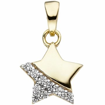 Kinder-Halsketten-Anhänger Stern 375 Gelbgold 9 Zirkonia