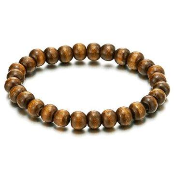 Klassischer Herren Damen Braun Holz-Armband, 8mm Tibetan Beads Buddhist Prayer Mala, Brown, Dehnbare