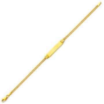 Kleine Schätze – 14 Karat Light Gelbgold ID Men`s Cuban Armband- 7.5 Inches