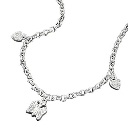 Latotsa Silberkette Sterling Silber 925 Charmanhänger Anker Kette Halskette Ankerkette mit Herz Schmetterling Anhänger Collier Kurz 38cm