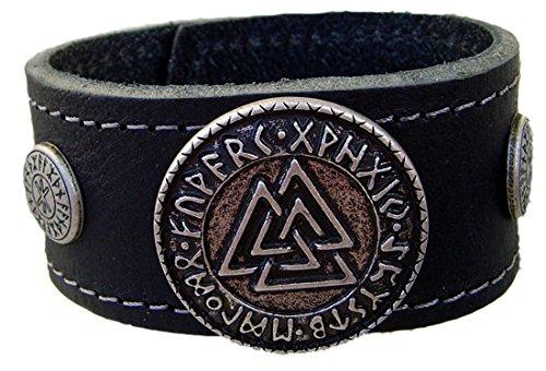 Lederarmband Wotansknoten mit Odins Schutz Farbe schwarz