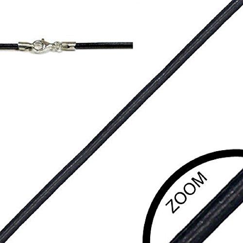 Lederkette LSR 11 Schwarz 55 cm / 2 mm Halskette Leder mit 925er Sterling Silber Karabiner-Verschluss
