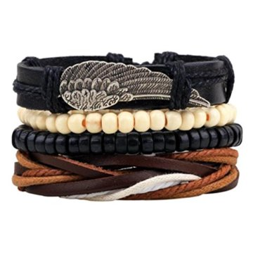 Männer Gewebt Lederarmband Perlen Armband Aus Holz Perlengröße Kann Eingestellt Werden