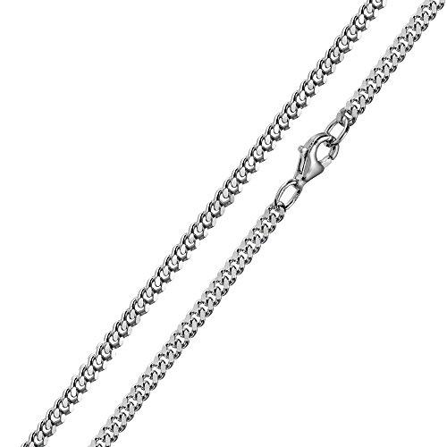 MATERIA 3mm Panzerkette Silber 925 diamantiert rhodiniert Halskette Herren Damen silber in 40 – 80 cm #K27