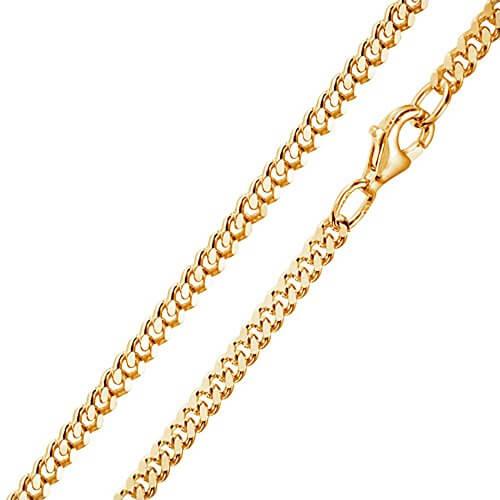 MATERIA 3mm Panzerkette Silber 925 vergoldet diamantiert Gold Halskette Herren Damen 40-80cm mit Box #K70