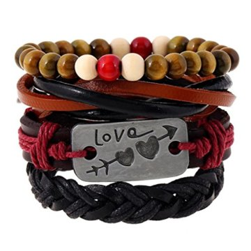 MagiDeal Damen Armband Böhmische Mehr Sichtig Seil mit Bunten Holz Perlen Schmuck