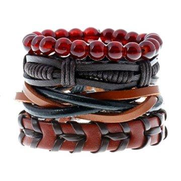 MagiDeal Damen Armband Einstellbare Böhmische Mehr Sichtig Seil mit Bunten Holz Perlen Schmuck