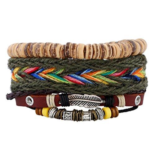 MagiDeal Satz von 3 Stk. Damen Armband Einstellbare Böhmische Mehr Sichtig Seil mit Bunten Holz Perlen Schmuck