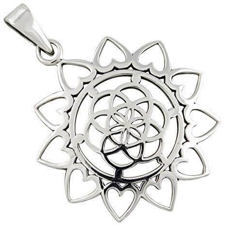 Mandala, Lebensblume, Anhänger aus 925-Silber