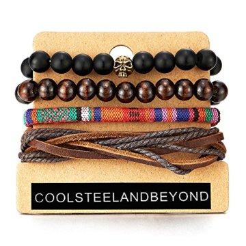 Mischen 4 Schwarz Braun Wickeln um Strap Armband Herren Damen, Multi-Strang Perlen Holz Armband, Schädel Lederarmband