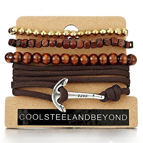 Mischen von 4 Braun Anker Wickeln um Strap Armband Herren Damen, Multi-Strang Gold Holz Perlen Armband Baumwoll Seil