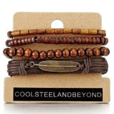 Mischen von 4 Braun Wickeln um Strap Armband Herren Damen, Feder Bettelarmband, Perlen Holz Leder Armband Schweissband