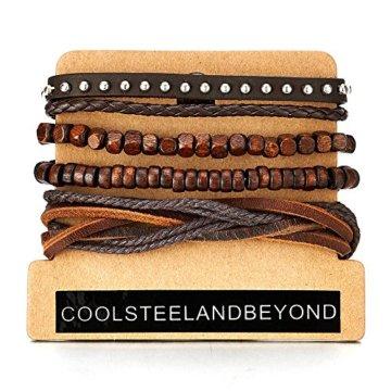 Mischen von 4 Braun Wickeln um Strap Armband Herren Damen, Multi-Strang Holz Perlen mit Nieten Lederarmband