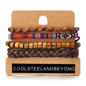 Mischen von 4 Braun Wickeln um Strap Armband Herren Damen, Multi-Strang Leder Baumwolle Perlen Holz, Ethnischen Stammes
